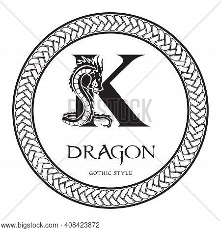 Dragon Silhouette Inside Capital Letter K. Elegant Gothic Dragon Logo With Tattoo Element. Heraldic