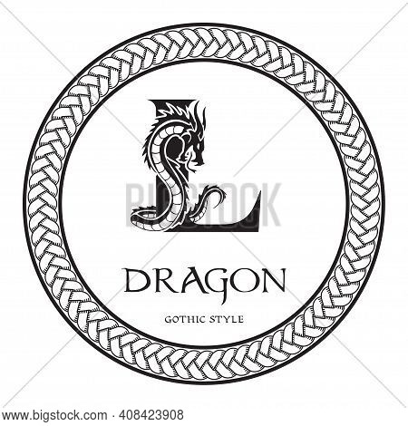 Dragon Silhouette Inside Capital Letter L. Elegant Gothic Dragon Logo With Tattoo Element. Heraldic