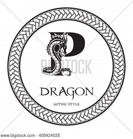Dragon Silhouette Inside Capital Letter P. Elegant Gothic Dragon Logo With Tattoo Element. Heraldic