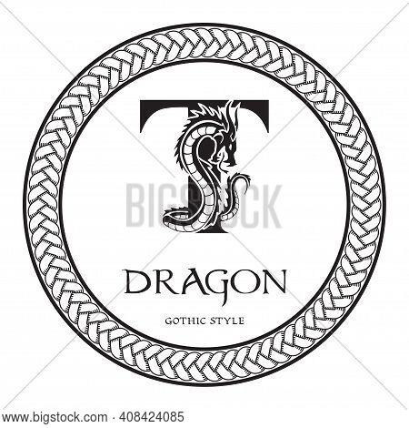 Dragon Silhouette Inside Capital Letter T. Elegant Gothic Dragon Logo With Tattoo Element. Heraldic