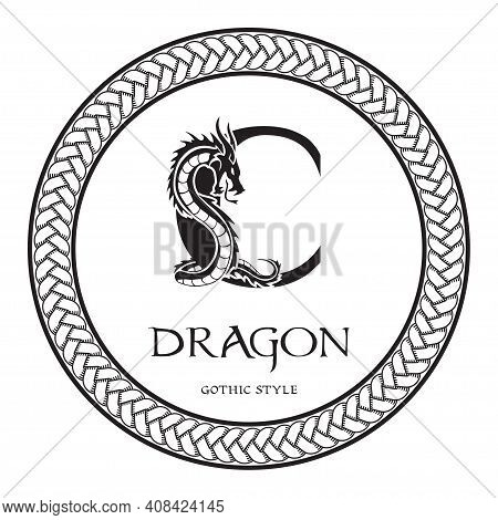 Dragon Silhouette Inside Capital Letter C. Elegant Gothic Dragon Logo With Tattoo Element. Heraldic