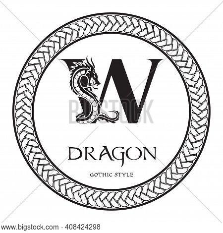 Dragon Silhouette Inside Capital Letter W. Elegant Gothic Dragon Logo With Tattoo Element. Heraldic