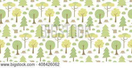 Woodland Landscape With Trees, Shrubs, Seamless Pattern, On A White Background. Hand Drawn Vector Il