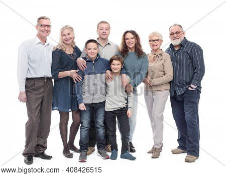 portrait of a happy large family. isolated on a white