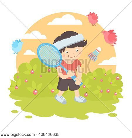 Boy Kid With Sport Racquet Playing Badminton On The Lawn With Nature Outdoors Background Vector Illu