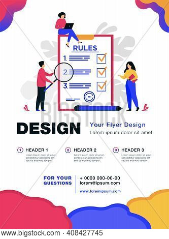 Business People Studying List Of Rules, Reading Guidance, Making Checklist. Vector Illustration For