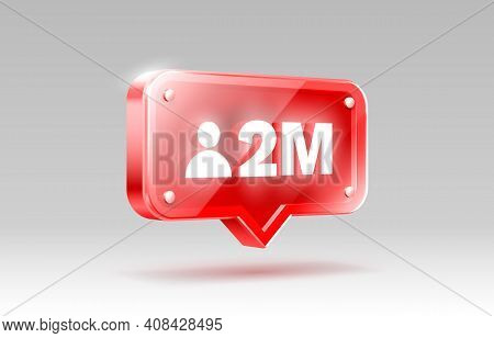 Thank You Followers Peoples, 2 Million Online Social Group, Happy Banner Celebrate, Vector