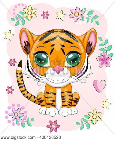 Cute Cartoon Tiger With Beautiful Eyes, Bright, Orange Among Flowers, Hearts, Greeting Card.