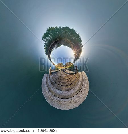 Abstract Inversion Of Little Planet Transformation Of Spherical Panorama 360 Degrees. Spherical Abst
