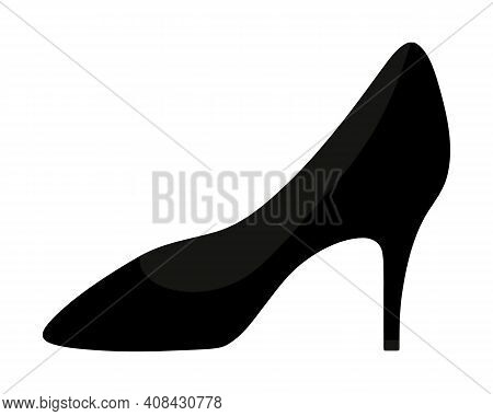 Leather shoe. Womens shoes with heels in a classic style. Vector illustration. Isolated white background. Valentines Day, wedding. Ladies accessory. An invariable attribute of a business woman. Lost shoe. Flat style. Idea for web design, invitations, post