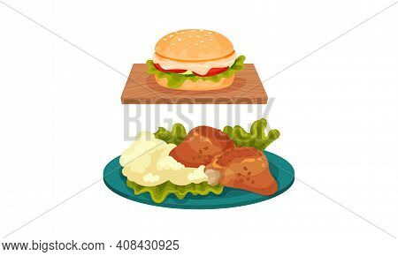 Meat Dishes With Hamburger And Fried Chicken With Mashed Potatoes Served On Plate Vector Set