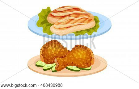 Meat Dishes With Chicken Fillet And Legs Served On Plate Vector Set