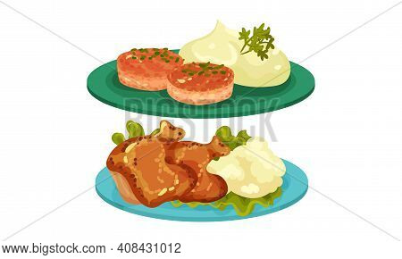 Meat Dishes With Patty Cake With Mashed Potato And Chicken Served On Plate Vector Set