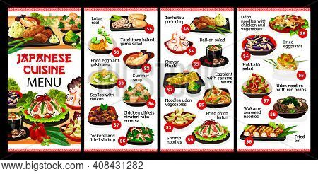 Japanese Cuisine Restaurant Food Menu, Japan Meals And Dishes, Vector. Traditional Asian Japanese Cu