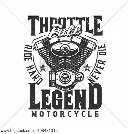 Motorcycle Engine Vector T-shirt Print Mockup Of Biker Club Or Motor Racing Sport Design. V-twin Eng
