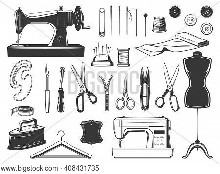 Tailor And Seamstress Tools, Sewing Equipment Set. Retro And Modern Sewing Machine, Tailor And Embro