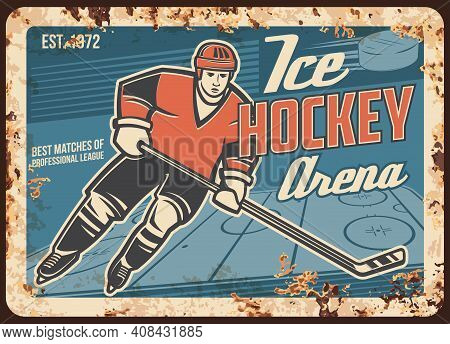 Ice Hockey Player On Arena Rusty Metal Plate. Forward Skating On Rink, Striking Puck With Stick Duri