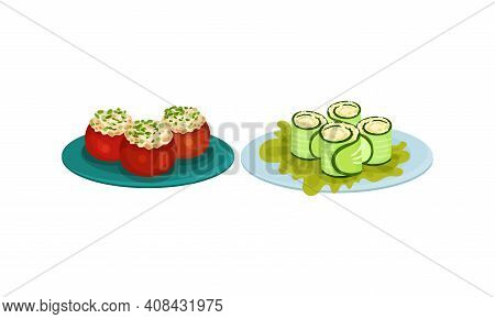 Finger Foods With Stuffed Tomatoes And Cucumber Wrap As Small Portion Of Food Vector Set