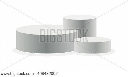 Podium Realistic. Showroom Pedestal, Floor Stage Platform Vector Isolated Mockup. 3d Realistic Round