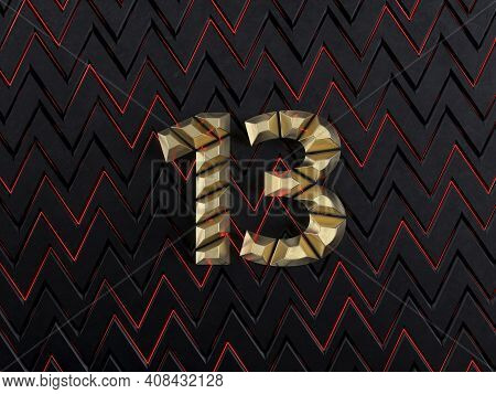 Number Thirteen (number 13) Made From Gold Bars On Dark Background With Cuts And Glow Of Red Neon Li