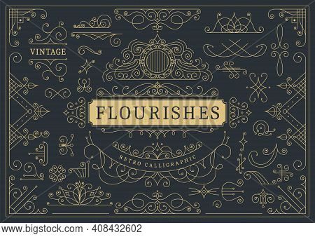 Flourishes Calligraphic Vintage Ornamental Background. Golden Ornate Page With Swirls And Vignettes