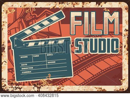 Film Studio Rusty Metal Plate With Vector Clapperboard, Camera And Filmstrip. Retro Poster Design Fo