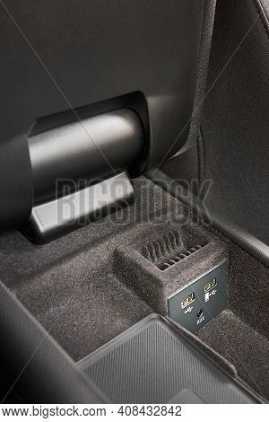 Contemporary Car Interior Element Inside Of Driver Seat Armrest Usb And Aux Inputs For Connecting Ga