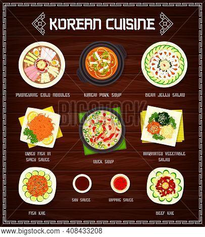 Korean Cuisine Vector Menu Pyonguang Cold Noodles, Kimchi Pork And Duck Soups, Marinated Vegetable A