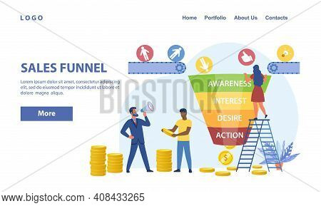 Sales Funnel Abstract Concept With Tiny People Surrounded By Icons And Symbols. Sales Funnel Marketi
