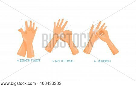 Hand Washing And Cleansing Using Soap Vector Set