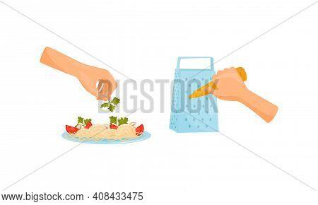 Hands Preparing Food Garnishing Dish With Parsley And Grating Carrot Vector Set