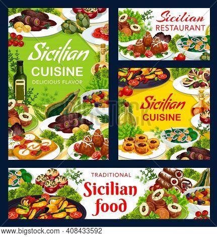 Sicilian Restaurant Food Vector Arancini, Stuffed Tomatoes, Cannoli And Caponata, Chops With Pesto S