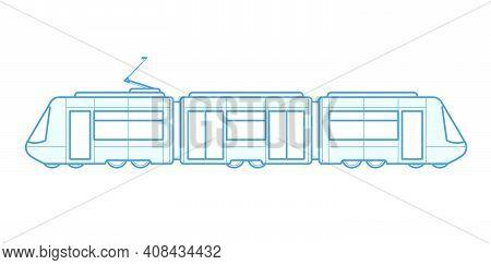 Passenger Tram Train Side View, Modern Urban Streetcar, Tramcar - City Electric Transport, Vector