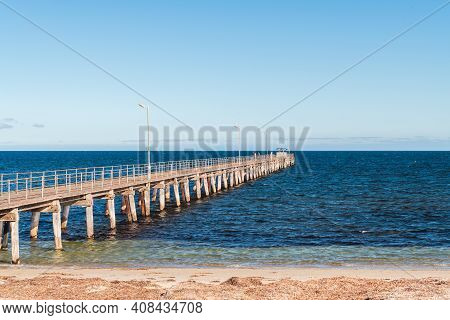 Marion Bay Jetty At Sunset During Summer Evening, Yorke Peninsula, South Australia