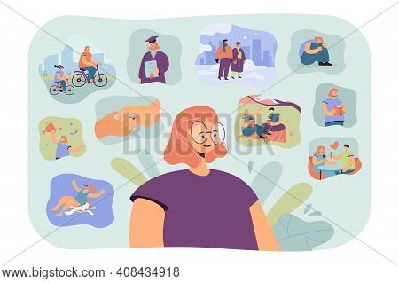 Positive Woman Remembering Happy Scenes Of Her Life. Person Thinking Over Her Graduation, Engagement