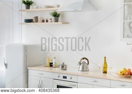 Rent Flat, Real Estate, Ready For Cooking, Domestic Culinary, Home Healthy Eat. White Kitchen, Refri
