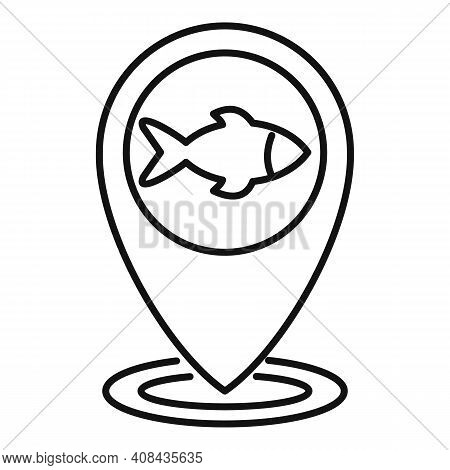 River Fish Location Icon. Outline River Fish Location Vector Icon For Web Design Isolated On White B