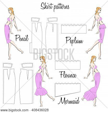 Skirt Pencil, Peplum, Flounce And Mermaid Patterns. A Visual Representation Of Styles Of The Skirts
