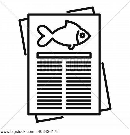 Fish Paper Description Icon. Outline Fish Paper Description Vector Icon For Web Design Isolated On W