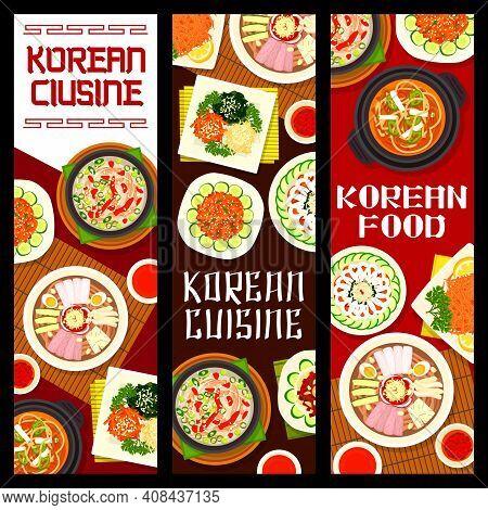 Korean Cuisine Vector Marinated Vegetable Salad, Pyonguang Cold Noodles And Kimchi Pork Soup. Bean J