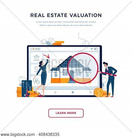 Real Estate Valuation Banner. Inspectors Are Doing Property Appraisal Of The House For Fixing Of Val
