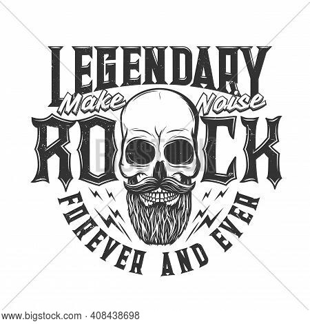 Tshirt Print With Bearded Skull, Vector Mascot For Music Band Apparel Design. T Shirt Print For Hard