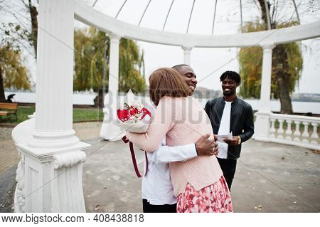 Wedding Engagement Ceremony With Pastor. Happy Multiethnic Couple In Love Story. Relationships Of Af