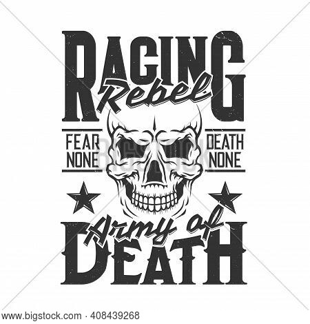 Car Racing Skull T-shirt Print, Sport Rally Races Vector Shirt Tee. Hot Rod Wheels Dragster And Extr