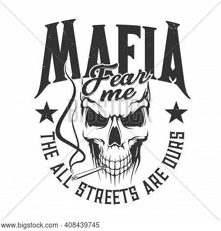 Skull Mafia Gangsters T-shirt Print Mockup, Vector Street Gang Criminals. Mafia Skull Skeleton With