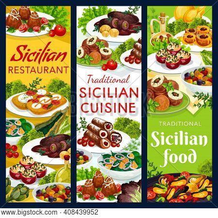 Sicilian Food Vector Stuffed Tomatoes, Caciovallo, Mussels And Scaccia. Cannoli, Caponata, Chops Wit
