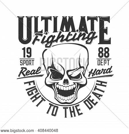 Fight Club Skull T Shirt Print, Boxing Or Mma Wrestling Vector Icon. Street Fighting Or Boxer Club E