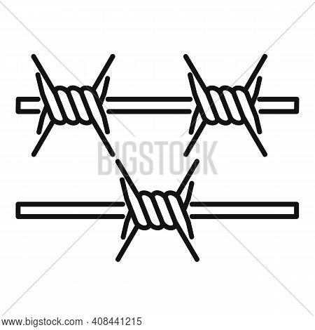 Prison Spike Wire Icon. Outline Prison Spike Wire Vector Icon For Web Design Isolated On White Backg