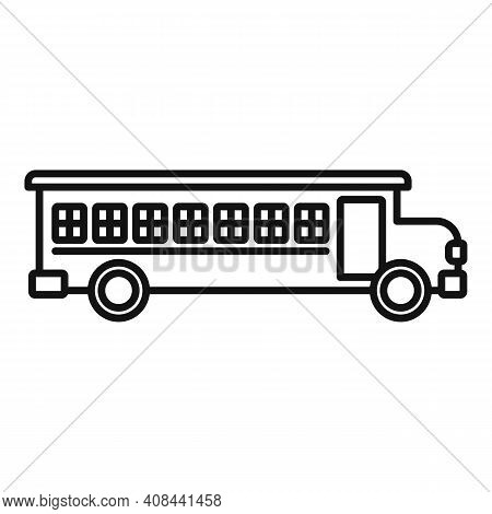 Prison Bus Icon. Outline Prison Bus Vector Icon For Web Design Isolated On White Background
