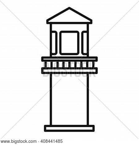 Prison Guard Tower Icon. Outline Prison Guard Tower Vector Icon For Web Design Isolated On White Bac